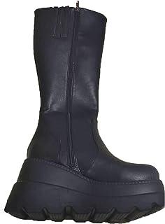 Frolada Dames Bottes Longues Semelle épaisse Bottes Compensées Femmes Automne Hiver Femmes Bottes De Motard Chaussures Gra...
