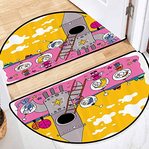 31' L x 19' W Cartoon Decor Collection Simple semicircular Rug Winter Durable Hero Astronaut Kids with The Rocket Space Ship Childhood Dream Fun Artwork Print Yellow Fuchsia