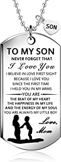 NOVLOVE Inspirational Birthday Gift to My Son from Mom Always Remember You are Braver Stainless Steel Dog Tag Necklace Pen...
