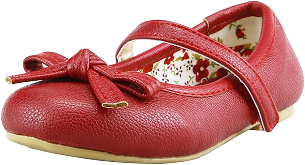 The Doll Maker Girls Bow Top Red Strap Flat