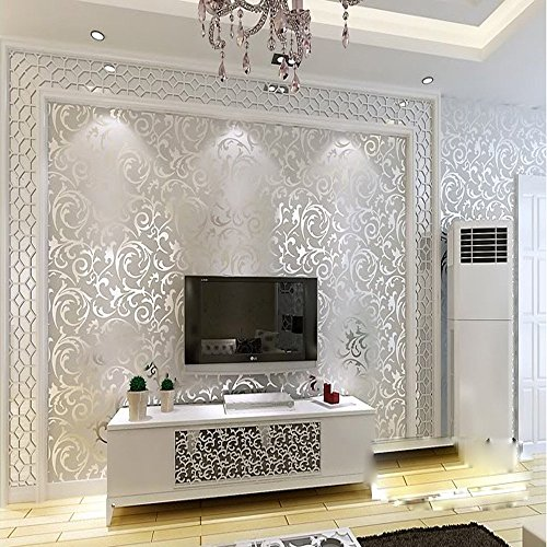 QIHANG Sliver Gray Victorian Damask Embossed Textured Home Decoration Wallpaper 0.53m x 10m=5.3㎡