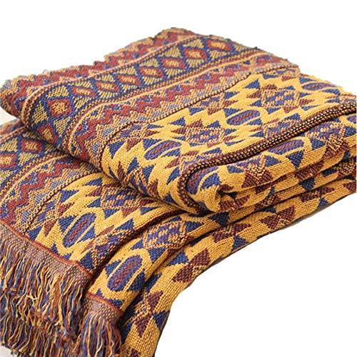 Bulary Bohemian Blanket Throw, 130 * 180CM Pure Cotton Braided Boho Throw Blankets Sofa Bedspread Patchwork Knitted Blanket