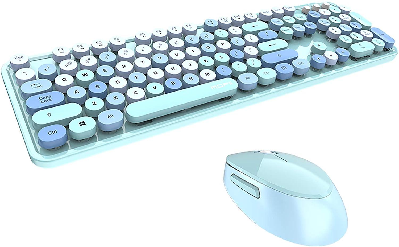 Retro Cute Clicky Typewriter Keyboard Wireless Bluetooth Mechanical Keyboard for Computer PC Laptop Notebook Mac Windows XP/7/8/10 (Keyboard and Mouse, 104 Keys Blue)