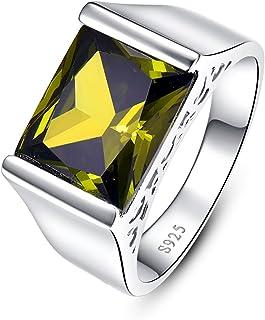 BONLAVIE خاتم زفاف للرجال خاتم خطوبة مع 9.5 قيراط مشع قطع خلقه الزبرجد الأخضر النقي 925 أربطة من الفضة الإسترلينية مقاس 6-14