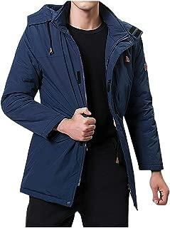 IZHH Trench Coat Men Windbreaker Parka Jacket with Hood Cotton-Padded Down Coats