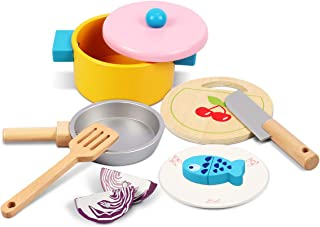 Lydaz Kids Cooking Set, Wooden Kitchen Pretend Play Toys with Cookware Utensils Pots and Pans Set, 11 PCS Play Kitchen Toy Accessories Cutting Magnetic Play Food for Toddlers Girls Boys
