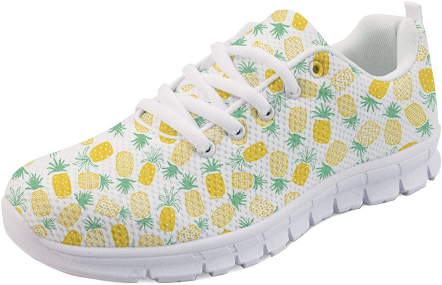INSTANTARTS Summer Fruit Pineapple Pattern Ladies Running Sports Tennis shoes Sneaker Lace up US8