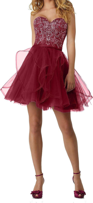 Homdor Women Strapless Beaded Homecoming Dresses Short Tulle Prom Evening Gown