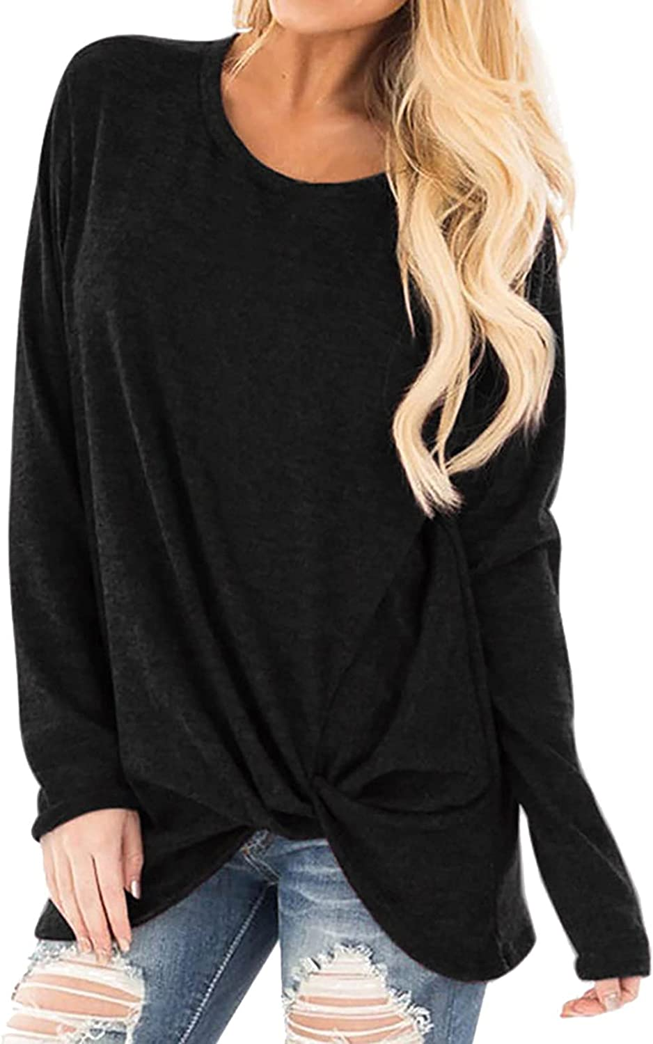 Women Fashion Classic Loose Long Sleeve O-Neck Casual Solid T-Shirt Blouse Tops