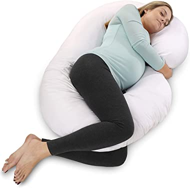 Pregnancy Pillow with Jersey Cover, U Shaped Full Body Pillow (White)