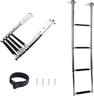 DasMarine 4 Step Ladder 316 Stainless Steel Telescoping Ladder, 900 Pound Capacity for Marine Yacht/Swimming Pool with Retaining Strap (4 Step Ladder)