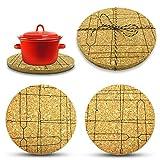 larolo Salvamanteles con motivos pintados a mano (tema a elegir) para ollas, sartenes y jarrones para proteger superficies delicadas, juego de 2 unidades de corcho.