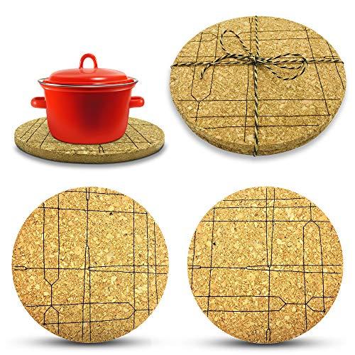 larolo Korkuntersetzer rund mit handgemalten Linien-Motiven – 2-teiliges Set Design Topfuntersetzer Kork für Töpfe & Pfannen z.B. als Geschenk & Giveaway