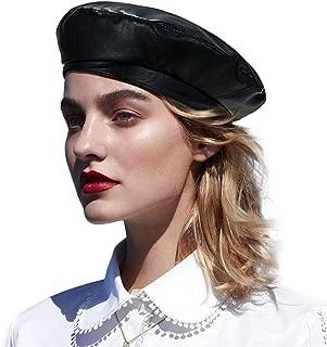 IBFUN Damen PU Leder Baskenm/ütze Chic French Artist Style Verbesserter schwarzer Kausal Baskenm/ütze Zeitungsjunge Hut f/ür Damen