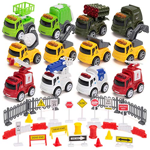 12 Pcs Diecast Friction Powered City Hero Play Vehicle Car Toys with 12 Traffic Road Signs, 4 Construction, 2 Fire Rescue, 2 Police, 2 Garbage and 2 Military Car Truck Toy