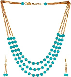 Saissa Gold Tone Metal Three Layer Indian Necklace Earrings Jewelry Set for Girls and Women, Blue