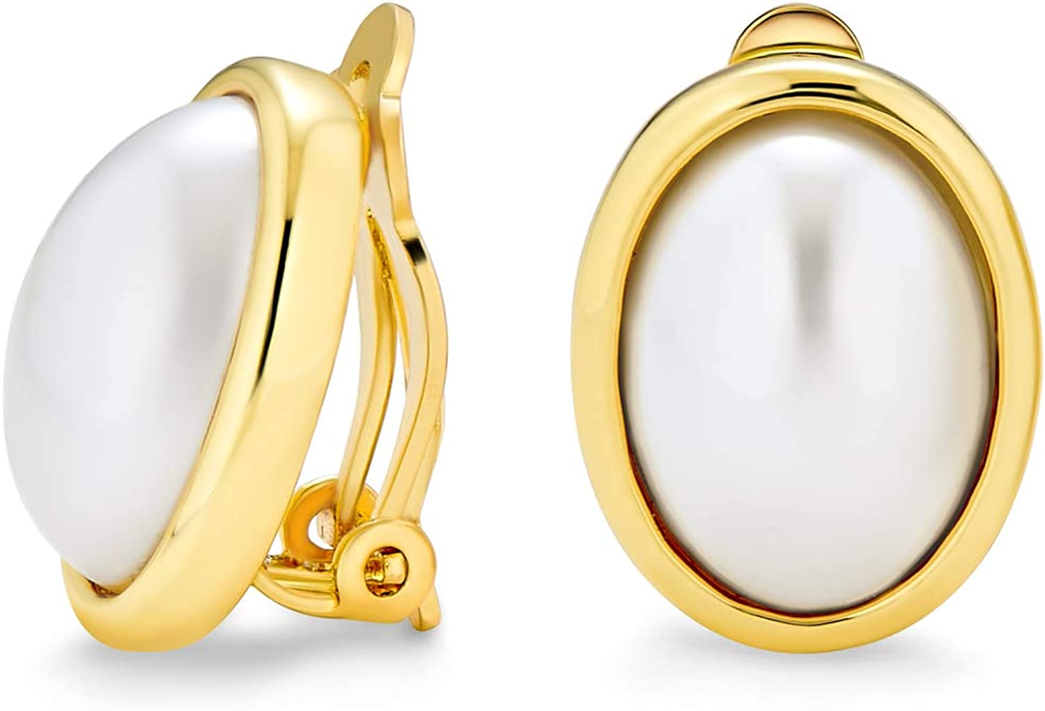 Simple White Simulated Pearl Cabochon Bezel Oval Clip On Earrings For Women For Non Pierced Ears 14K Gold Plated Brass