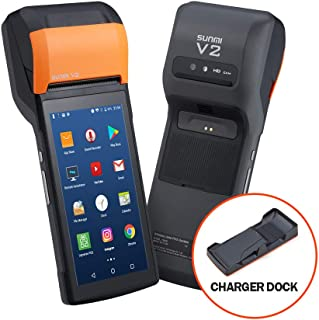MUNBYN POS Printer with Charger Dock, PDA 58mm Receipt Printer Android 7.1 POS Handheld 5.45