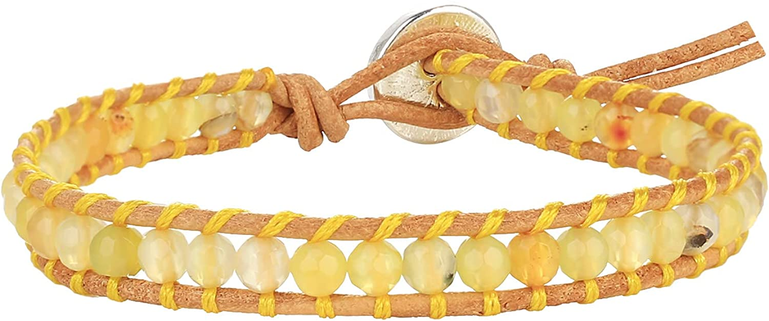 KELITCH Max 53% OFF Hand Woven Leather Wrap Colorful Beads Super intense SALE Bracelets Stones