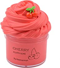Keemanman Red Cherry Butter Fluffy Slime, DIY Slime Supplies Kit for Girls and Boys, Stress Relief Toy Scented Slime Toy for Kids Education, Party Favor, Gift and Birthday(7oz)