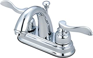 Kingston Brass KB8611NFL NuWave French 4-Inch Centerset Lavatory Faucet with Retail Pop-Up, Polished Chrome