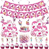 Princess Birthday Party Supplies,Princess Party Decorations Include Cake Topper,Cupcake Toppers, Banner, Balloons, Swirls Decorations