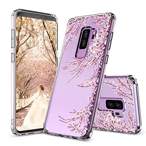 MOSNOVO Galaxy S9 Plus Case,Galaxy S9 Plus Cover, Cherry Blossom Floral Printed Flower Clear Design Plastic Hard Slim Back Case with TPU Bumper Case Cover for Samsung Galaxy S9 Plus