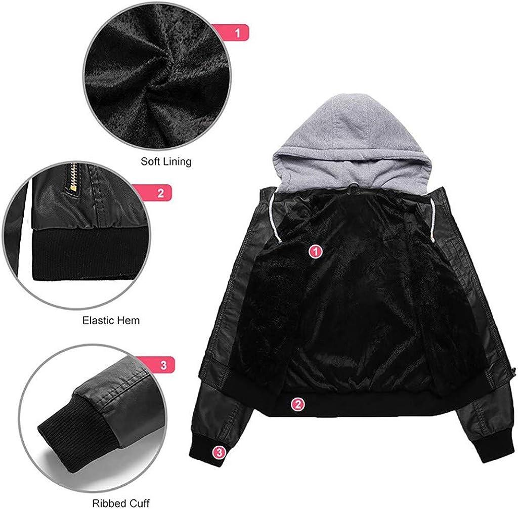 FIRMON-Jacket Damen Slim Kunstlederjacke, Abnehmbarer Reißverschluss Caps mit Kapuze, warm, kurz Braun