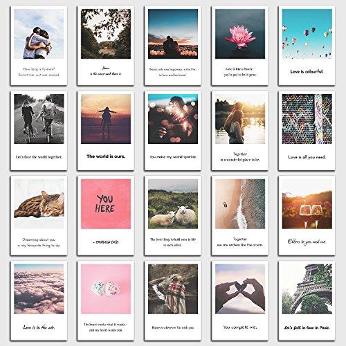 INDIVIDUAL NOMAD® Postkarten 20er Set Liebe | rührende Sprüche auf Englisch die aus dem Herzen kommen | Im Retro-Polaroid Style