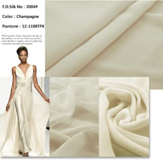 F.D.silk 100% Pure Silk Chiffon Fabric By the Yard, 48 Colors, Champagne CH-04