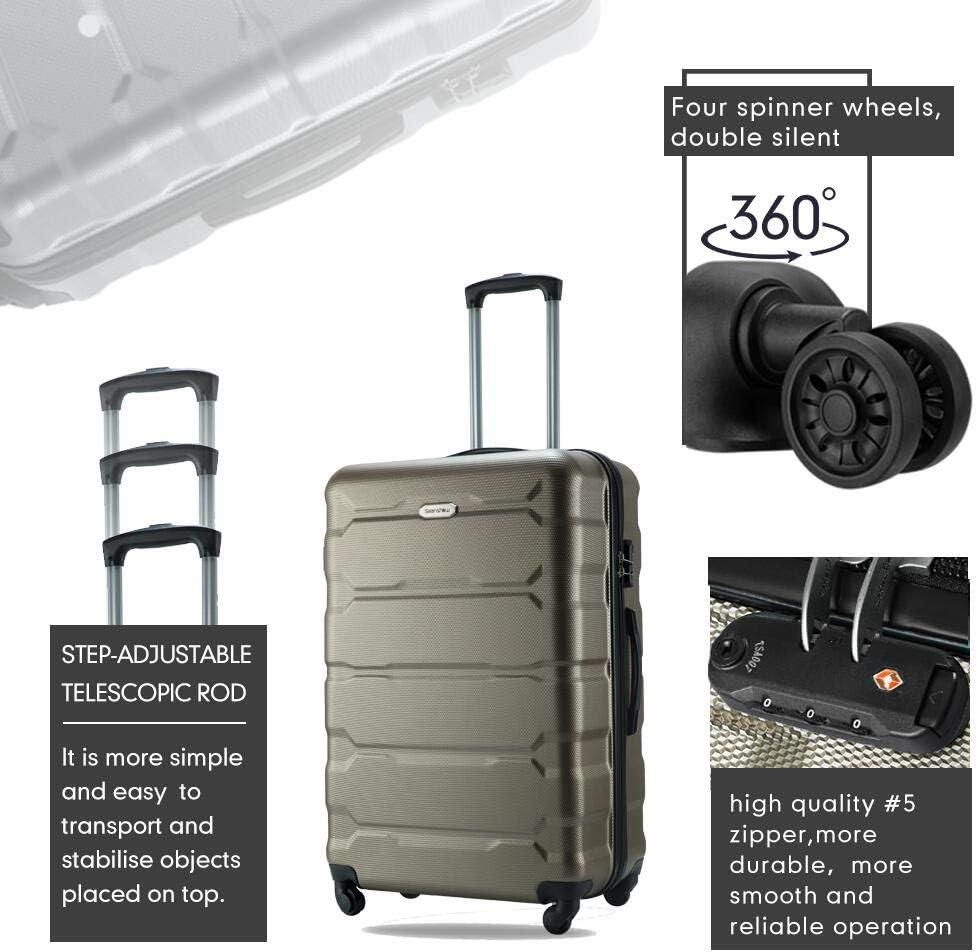 Black-new Seanshow Luggage 3 Set Suitcase Lightweight PC+ABS Spinner Suitacase Set 20 24 28