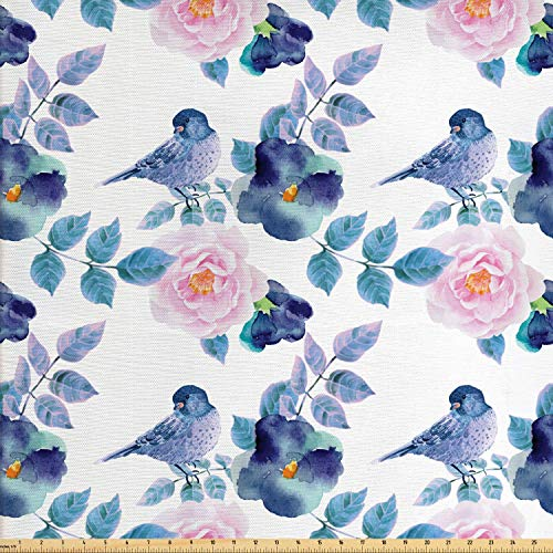 Lunarable Floral Fabric by The Yard, Watercolor Flower Petals and Bird Summer Spring Themed Artwork, Decorative Fabric for Upholstery and Home Accents, 2 Yards, White Blue