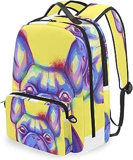Mochila con bolsa de cruz desmontable Set Bulldog francés acuarela ordenador mochilas bolsa de libro para viajes senderismo camping Daypack