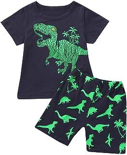 Fmystery Toddler Baby Kids Boys Dinosaur Summer Pajamas Sleepwear Tops Pants Outfits Set