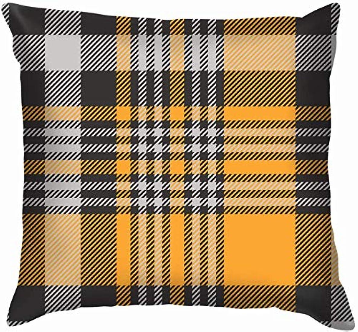子供達さらに相互格子縞のチェックシェードグレーオレンジスロー枕カバーホームソファクッションカバー枕カバーギフト45x45 cm