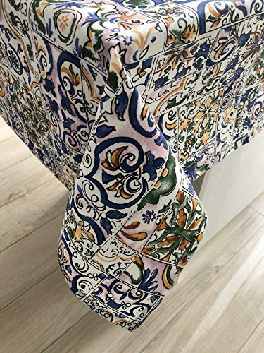1KDreams Antimacchia tovaglia da tavola. Impermeabile. Maiolica e mattonelle Multicolore. Made in Italy. (130x320 cm)
