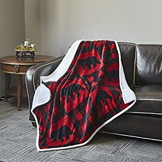 Virah Bella Red and Black Flannel Throw Blanket with Sherpa Backing 50