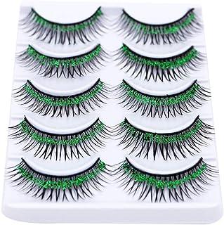 5 Pairs Colorful False Eyelashes Long Thick Glitter Artificial Eyelashes Makeup Eyelashes Extension Grass Green