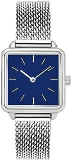 ساعات يد نسائية رفيعة من الفولاذ المقاوم للصدأ من كوارتز مضادة للماء بتصميم مربع بسيط للسيدات والفتيات (اللون: D)