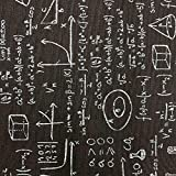 Kt KILOtela Tela de loneta Estampada - Retal de 100 cm Largo x 280 cm Ancho | Fórmulas matemáticas - Blanco, Negro ─ 1 Metro
