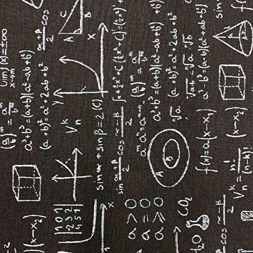 Kt KILOtela Tela de loneta Estampada - Retal de 300 cm Largo x 280 cm Ancho   Fórmulas matemáticas - Blanco, Negro ─ 3 Metros