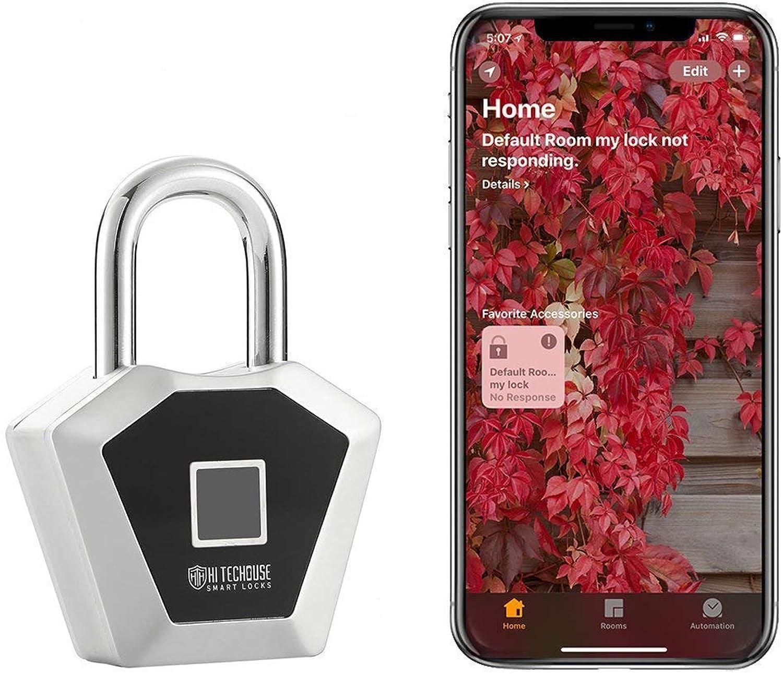 Fingerprint Padlock,Works with HomeKit,blueeetooth Lock Metal Waterproof - Suitable Gym Locker House Door Backpack  Suitcase Bike  Office, Applicable to All Apple Products