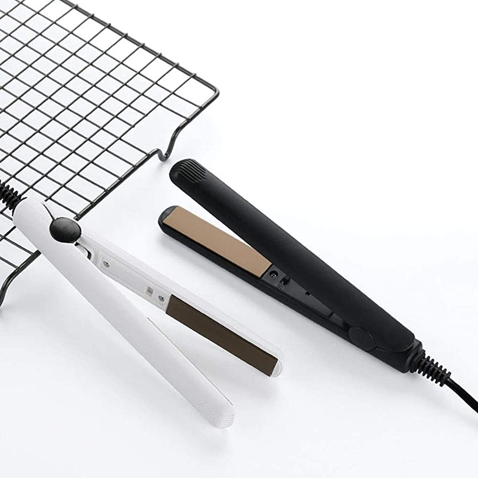 シェル早める不潔電気ストレートヘアカーラーフラットアイアンコルゲートヘアクリンパスタイリングツールミニセラミックヘア (白)