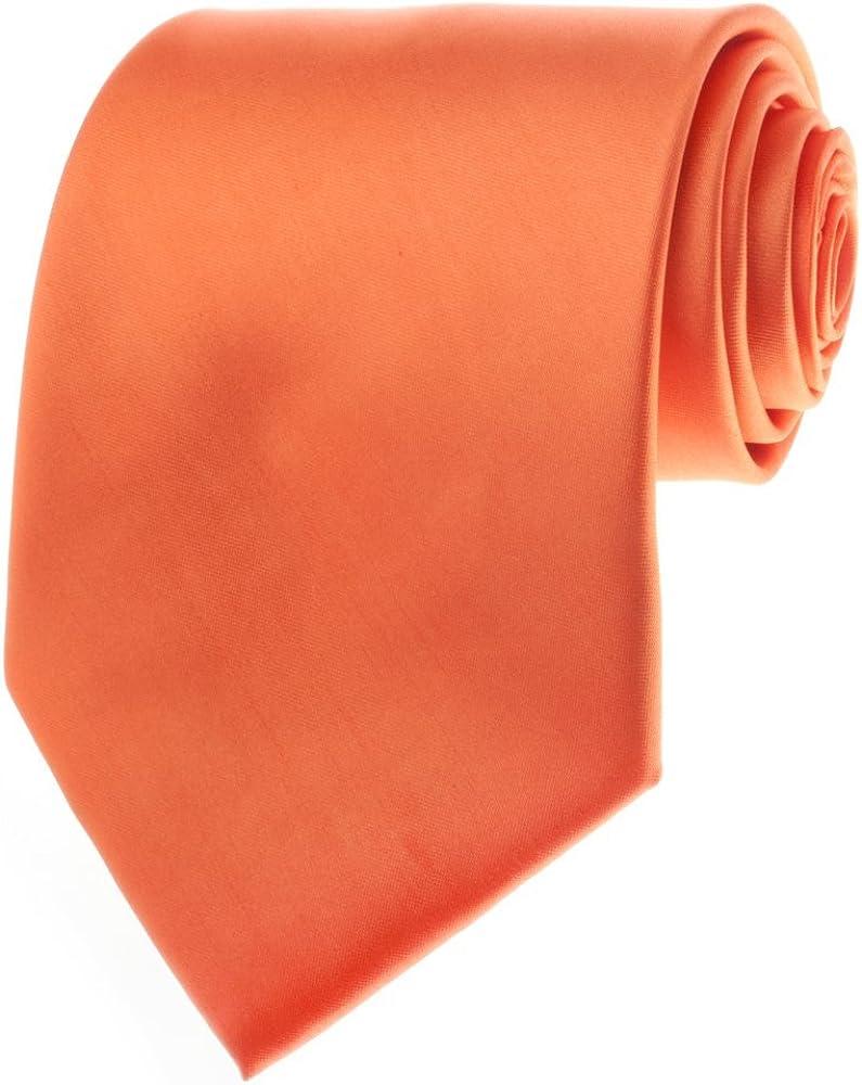 TopTie Mens Necktie Solid Color Orange Ties, Formal Neck ties, Gift Ideas