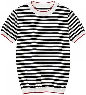 Thin Knitted T-Shirt Women'S Summer Women'S Short-Sleeved T-Shirt Tops Striped Casual T-Shirt Women