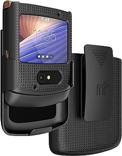 Case with Clip for Motorola RAZR 5G Flip Phone, Nakedcellphone [Black] Hard Shell Slim Cover with [Rotating/Ratchet] Belt ...