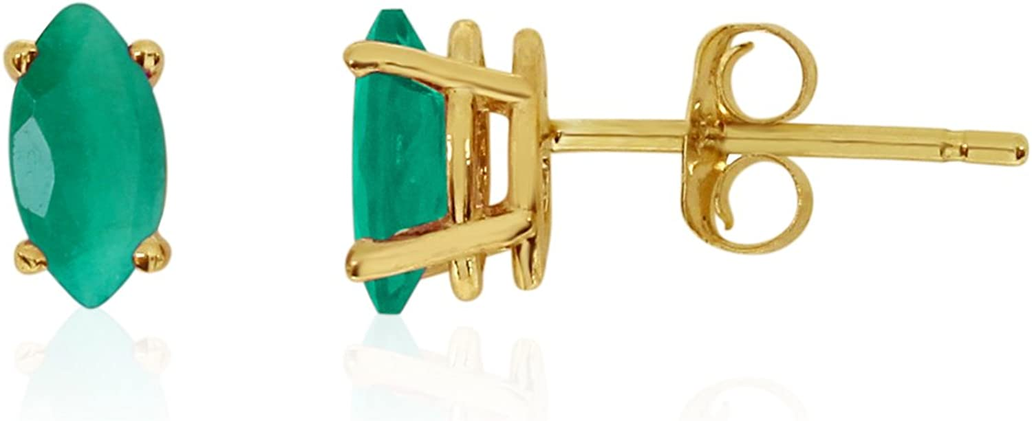 Jewels By Lux 14k Yellow Gold Studs Gemstone Marquise Earrings