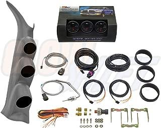 GlowShift Diesel Gauge Package for 2000-2006 Chevrolet Silverado Duramax & GMC Sierra - Black 7 Color 60 PSI Boost, 1500 F EGT & 30 PSI Fuel Pressure Gauges - Color Matched Gray Triple Pillar Pod