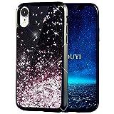 KOUYI Cover iPhone XR, 3D Glitter Nero Liquido Morbido Silicone TPU Bumper Protezione Cover,Moda 3D Cute Fluttuante Quicksand Anti-graffio Slim Custodia per Apple iPhone XR 6.1 Pollice(Oro Rosa)
