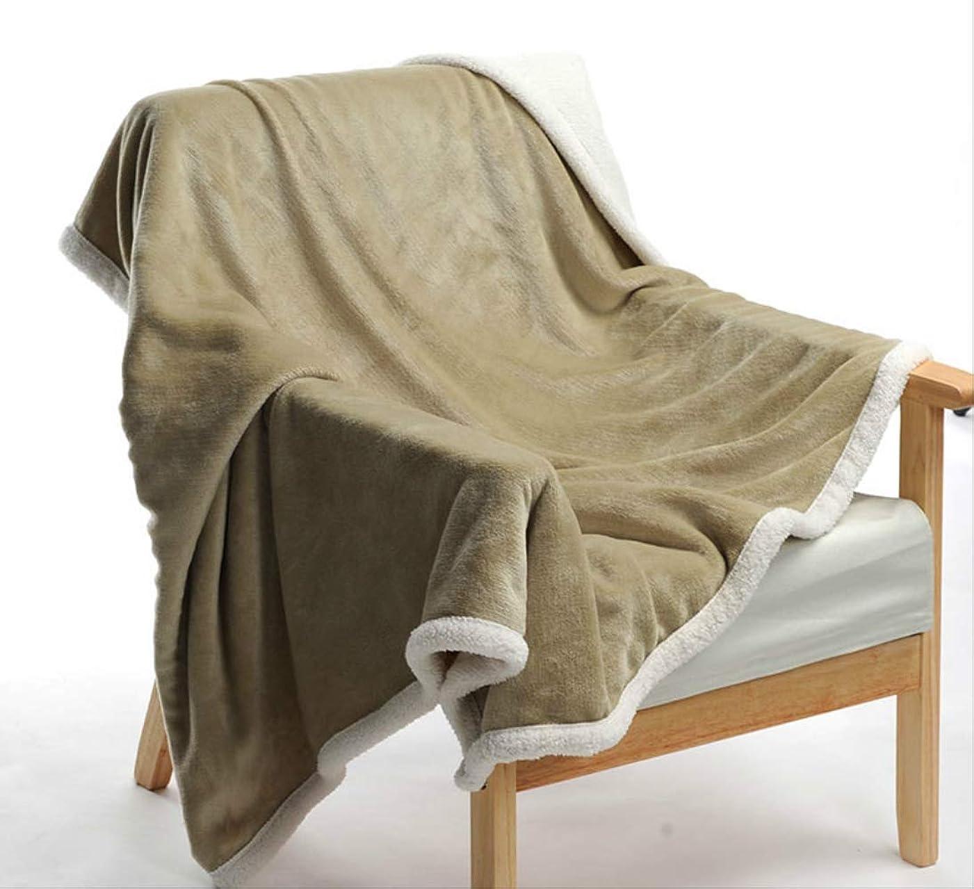 余計な廃止レンズRRSHUN シングル ブランケット毛布二重層ラムカシミヤ毛布シェルパ秋と冬の肥厚オフィスランチ休憩昼寝小さな毛布フランネルキルト120×80 cm黄緑